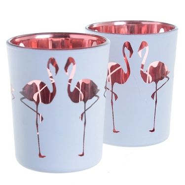 Lot de 2 Porte-bougie Photophores Flamant Rose